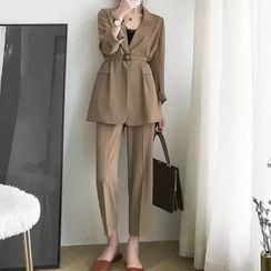 Apotheosis - Set: One-Button Blazer + Straight-Fit Dress Pants