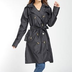 Deep Fest - Double Breasted Hooded Raincoat