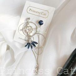 Princess Cat  - Non-matching Rhinestone Dangle Earring