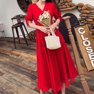 Shacos - Short-Sleeve V-Neck A-Line Midi Dress