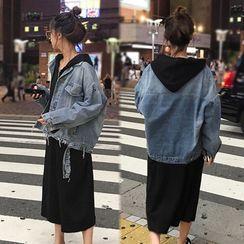 Apotheosis - Distressed Denim Jacket / Half-Zip Midi Hoodie Dress / Set