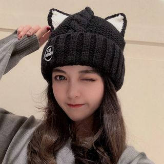 FROME - 饰猫耳针织无边帽