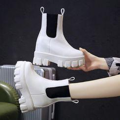 Sleeko - Platform Paneled Short Boots