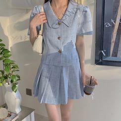Ashlee - Short-Sleeve Shirt / Mini A-Line Pleated Skirt