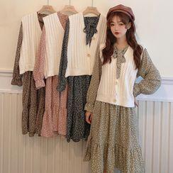 Velero - Knit Vest / Flower Print Long-Sleeve Midi Shift Dress