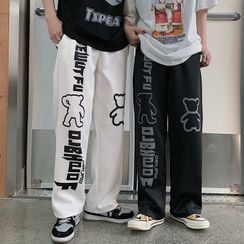 Shineon Studio - 熊字母印花直筒裤
