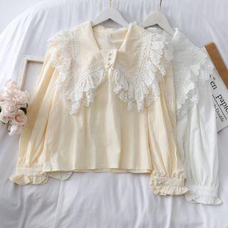 Lemongrass - Lace-Trim Sailor Blouse