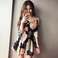 Althino  - Floral 3/4-Sleeve A-line Chiffon Dress