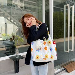 Eastin - Floral Print Canvas Tote Bag