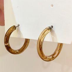 Rosie's Home - Transparent Resin Hoop Earring