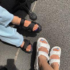 LIPHOP - Buckled Velcro Platform Sandals