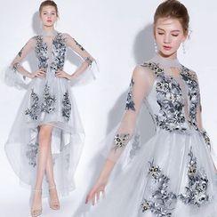 Sennyo - Embellished Mesh Panel Long-Sleeve Evening Dress