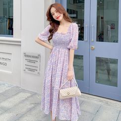 Petit Lace - Puff-Sleeve Floral Chiffon Dress