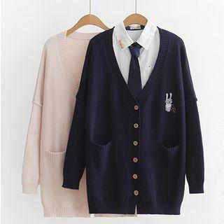 PANDAGO - Rabbit Embroidery Cardigan / Tie-Neck Shirt