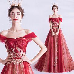 Angel Bridal - Cap-Sleeve Foil Print A-Line Evening Gown