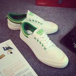Solejoy - Contrast-Trim Canvas Couple Sneakers