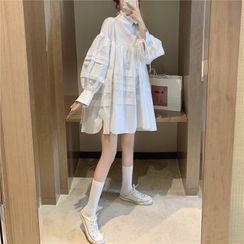 JIUHOJI - Lantern-Sleeve Shift Dress  / Lace Open Front Jacket