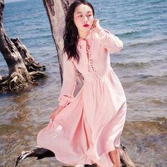 Glaypio - Long-Sleeve Midi A-line Dress