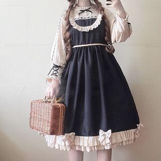 Tomoyo - Long-Sleeve Frill-Trim A-Line Midi Dress
