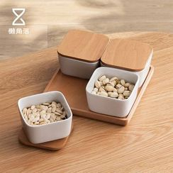 Lazy Corner - Set: Ceramic Food Container with Wooden Lid