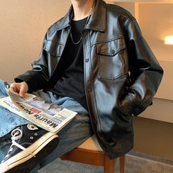 Real Boy - Faux Leather Buttoned Jacket