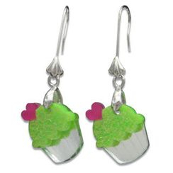 Sweet & Co. - Sweet Glitter Green Mirror Cupcake Silver Earrings