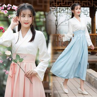 Pinocle - Flower  Embroidered Traditional Chinese Costume
