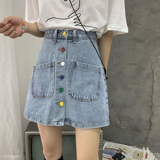 Beauvoir - Rainbow Button-Up Denim A-Line Skirt