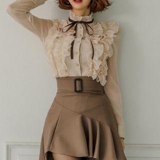 Aurora - 套装: 长袖荷叶衬衫 + 迷你A字裙
