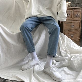 JUN.LEE - Washed Straight-Leg Jeans