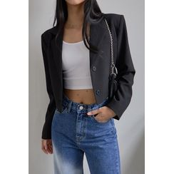 SIMPLY MOOD - Single-Breasted Cropped Blazer