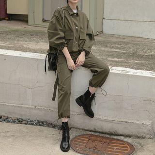 Heynew - Set: Buttoned Jacket + Drawstring Cuff Cargo Pants