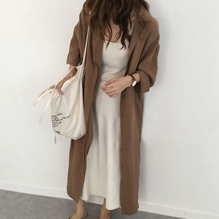 Mimi Lulu - Plain Long-Sleeve Shirt Dress