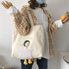 TangTangBags - Duck Embroidered Canvas Tote Bag