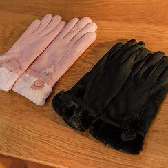 UUZONE - Faux-Fur Trim Gloves