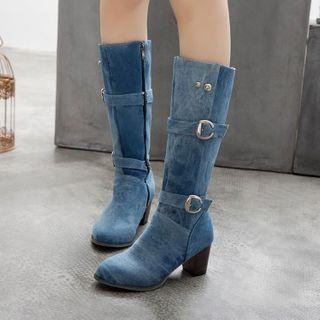 佳美 - 粗跟牛仔高身靴