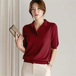 CHICLINE - Collared Shorts-Sleeve Knit Top
