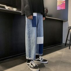 JUN.LEE - Patched Washed Wide-Leg Jeans