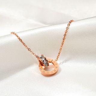 Tenri(テンリ) - Stainless Steel Rhinestone Roman Numeral Hoop Pendant Necklace / Hoop Earring