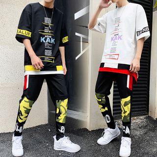 百高 - 套裝: 中袖字母T裇 + 運動短褲