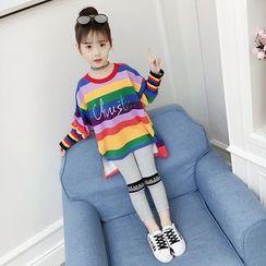 Spring Foresta - Kids Set: Rainbow Stripe Knit Top + Leggings