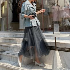 DABAGIRL - Waistband Maxi Tulle Skirt