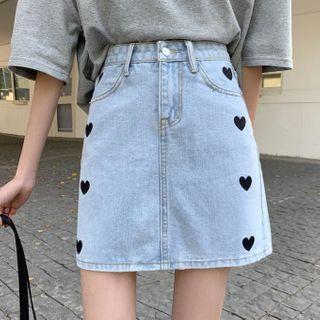 Shopherd - 刺繡迷你修身牛仔裙