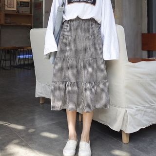 monroll - Gingham Midi A-Line Skirt