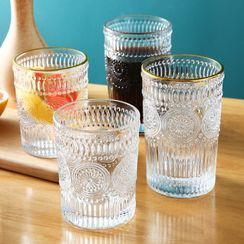 SunShine - Golden Trim Embossed Glass Drinking Cup
