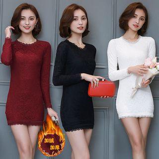 Sienne - Long-Sleeve Lace Panel Mini Bodycon Dress