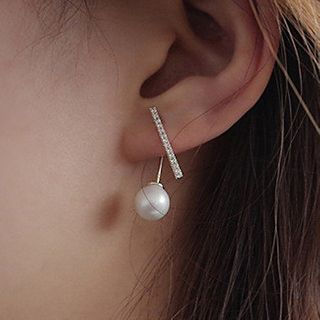 CatSoul - Asymmetrical Rhinestone Bar Faux Pearl Drop Earring