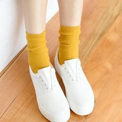 MITU - 纯色罗纹袜