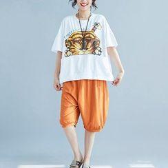Everose - Kurzarm-T-Shirt mit Katzendruck