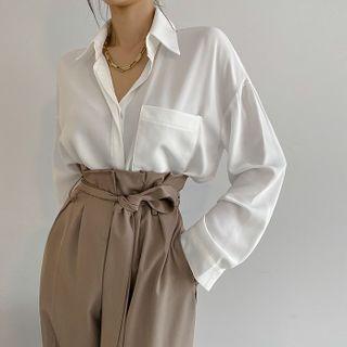 DABAGIRL - Hidden-Button Silky Shirt
